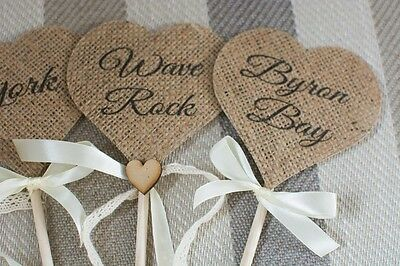 Wedding Table Numbers,Hessian,Rustic,shabby chic/vintage,Decorations Customized