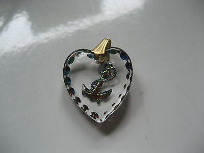 ANCHOR  Reverse carved and painted intaglio Vintage cabochon pendant