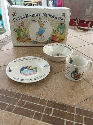 Vintage Wedgwood PETER RABBIT NURSERY FEEDING SET 3 pc CHILDS DISH SET NIB