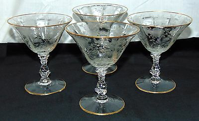 "4 Cambridge WILDFLOWER CRYSTAL *5"" 6 oz TALL SHERBETS w/GOLD TRIM* #3121*"
