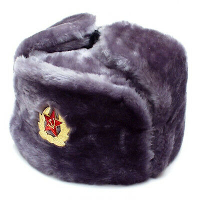 Authentic Russian Ushanka Gray Military Hat w/ Soviet Red Army Badge