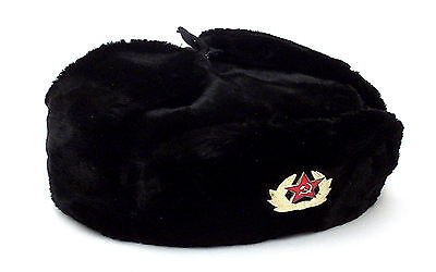Russian Authentic Ushanka Black Military Hat Soviet Red Army Emblem Style 1