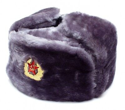 Authentic Gray Russian Military Ushanka With Soviet Red Army Emblem