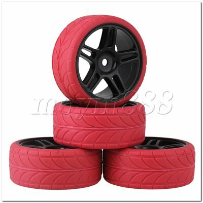 4Set Black Star Plastic Wheel Rim+Red Arrow Pattern Tyre for RC1:10 On-Road Car