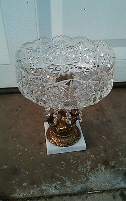 Hand Cut Lead Crystal Compote Bowl on Pedestal w/ Crystal Prisms Made in GERMANY