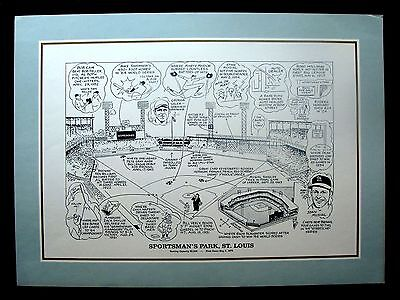 Circa 1983 Sporting News Browns Cardinals Sportsman's Park Litho By Gene Mack