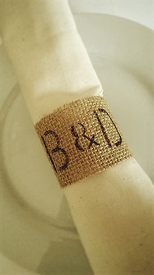 80 Personalized Burlap Wedding Napkin Rings, Rustic Wedding, Table Decor