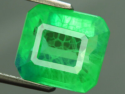 7.20ct Lab-created COLUMBIAN EMERALD CHATHUM OCTAGON INDUCED INCLUSION 9.7x 10.6