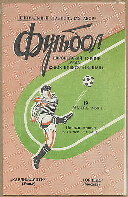 Extremely Rare!!!: Torpedo Moscow Ussr Russia - Cardiff City Wales 1968 Tashkent
