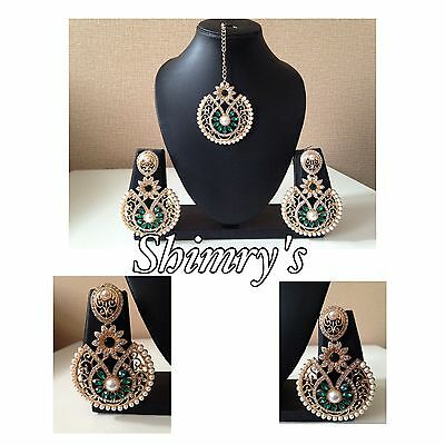 New Indian jewellery Bollywood Style Earrings  With Tikka in Green & Silver M2