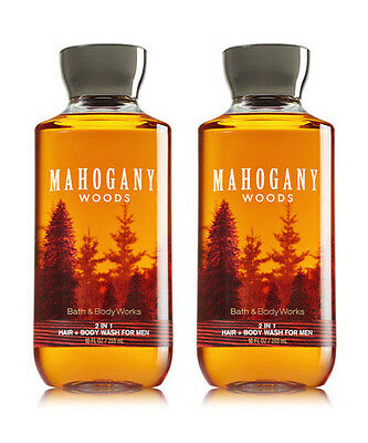 (2) Bath & Body Works MAHOGANY WOODS for Men 2-in-1 Hair and Body Wash NEW