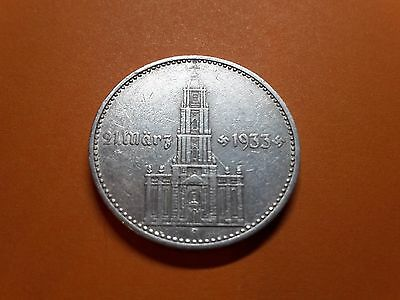 2 Reichsmark Silver Nazi Coin Church with Date 1934 little Swastikas
