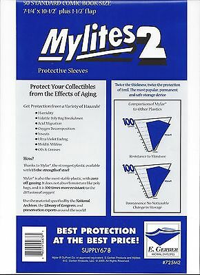 50 Factory Sealed Mylites2 Standard (=  Silver size Mylar) FREE SHIPPING