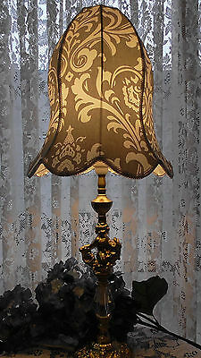 Grey & White Damask One Of A Kind Lampshade Shabby Chic Vintage Table Lamp Retro