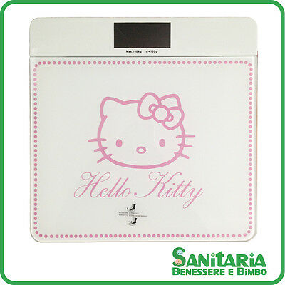 Bilancia pesapersone elettronica digitale Hello Kitty portata 180 KG BIANCA LCD