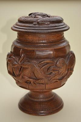 Antique Moghul Hand Carved Wooden Dragon Tobacco Jar Oriental Asian Mystical