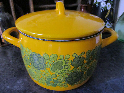 Vintage Retro 3.5L Yellow and Green Finel Finland Enamel Casserole Pot with Lid