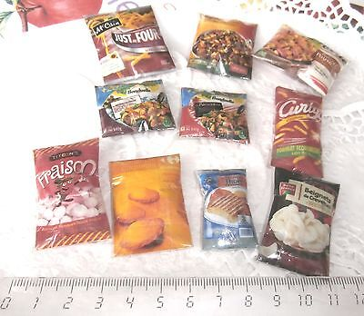 10 sachets aliments factices Maison Poupée Vitrine Doll House Food Barbie 1/12