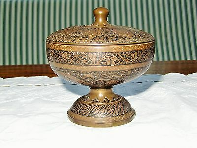 Decorative metal bowl with lid - light corrosion on interior of bowl