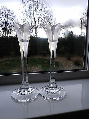 Pair of Tall Half Frosted Crystal/Cut Glass Flower Shaped Candlesticks