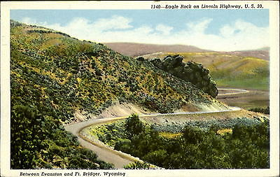 Eagle Rock on Lincoln Highway US 30 Evanston to Ft. Bridger Wyoming WY 1930s