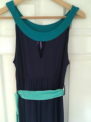 Seraphine blue and turquoise sleeveless maternity maxi dress, size small/10