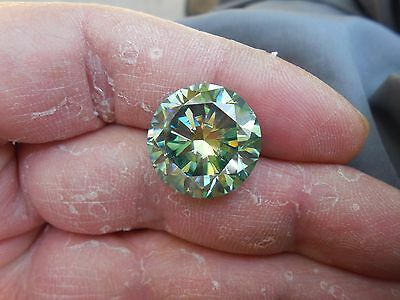 16.64 CT VVS2 16.92 mm Fiery Greenish Blue Color Round Cut Loose Moissanite