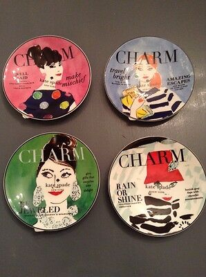 KATE SPADE  Lenox MAKE HEADLINES CHARM APPETIZER TIDBIT PLATES ~ SET OF 4