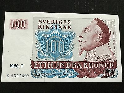 SWEDEN 100 KRONOR BANKNOTE 1980 UNC P-54 Replacement/Star note