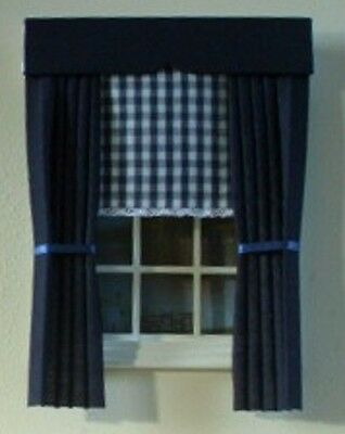 Dolls House Curtains Navy With Gingham Blind