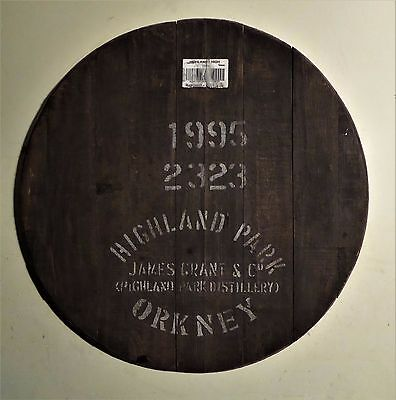 "1995 Highland Park Orkney Whisky Barrel Lid head braced, ready to hang 26"" wide"
