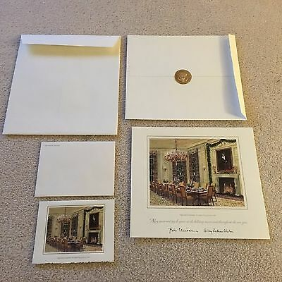 1998 White House Christmas Large & Small Cards- President Bill & Hillary Clinton