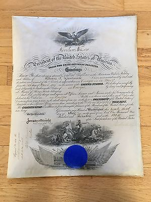 **RARE**  HAND SIGNED WORLD WAR I NAVAL APPOINTMENT - President Woodrow Wilson