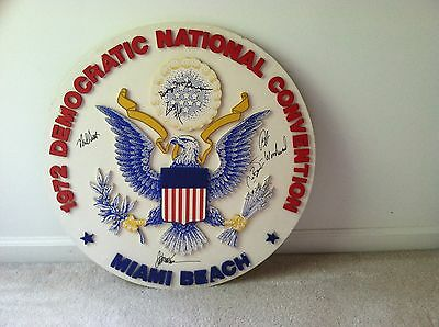 ONE-OF-KIND MULTI SIGNED ORIGINAL DISPLAY used at 1972 DNC Convention WATERGATE