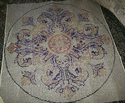 FREE SHIPPING!!  Vintage Shillcraft latch hook RUG CANVAS FLORENCE ROUND