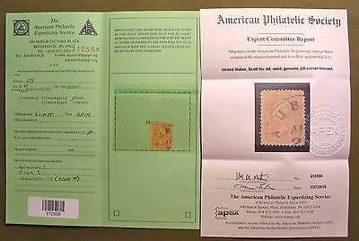 US  stamp Scotts #64 Certified Genuine by american Philatelic Society. SEE NOTE