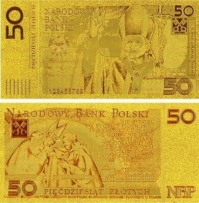 Gold Banknotes -  1 x POLAND 50 ZLOTYCH GOLD Banknote + FREE P&P