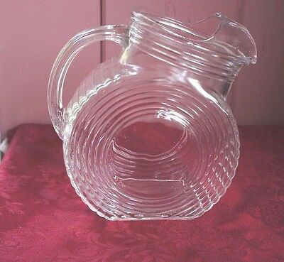 Vtg. Large Round Clear Glass Tilt Pitcher