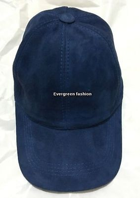 BASEBALL ROYAL BLUE SOFT SUEDE LEATHER Men's Women CLASSIC Real Leather Cap