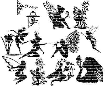Die Cut Silhouette - FAIRIES A '60mm TALL' x 11  for Card making, Fairy Jars,