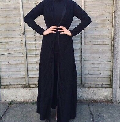 """Brand New Womens Black Lace Open Abaya Jacket SIZE S (8) Length Roughly 58"""""""
