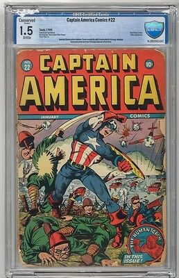 Timely Captain America Comics # 22 Cbcs 1.5 Not Cgc Comic Graded Golden Age 1943