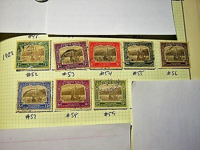SAINT KITTS/NEVIS-USED-SCOTT#52 to #59-Caravel part set-1/2p-1/- 8 stps--cv$145