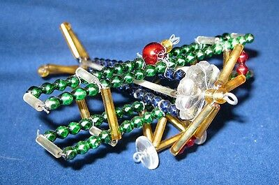 Cool Vintage Airplane Ornament Beaded Plastic Metal & Wire