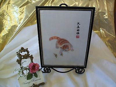 """Chinese Su Art Silk Embroidery Ginger Tabby Cat & Bees Vintage Framed 12"""" x 9"""""""
