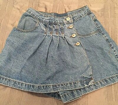 Women's High Waisted Mock Skirt Jean Shorts Stonewashed 80's Vintage Size 7