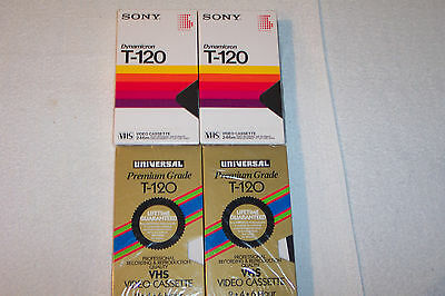 Lot of 4 SONY & UNIVERSAL T-120 VHS 246m Video Recording & Playback Tapes - New