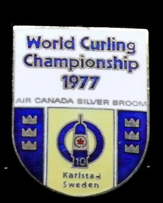 RARE World Curling Championship 1977 Air Canada Silver Broom Pin-Karlstad Sweden
