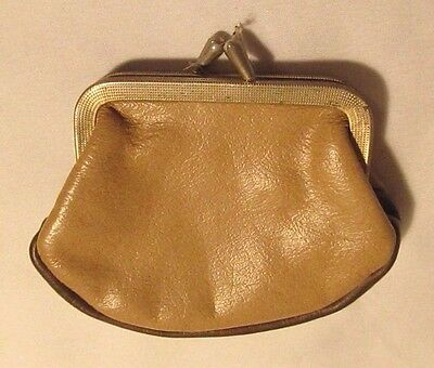 Vintage Tan & Brown Leather Coin Purse w/ Goldtone Clasp