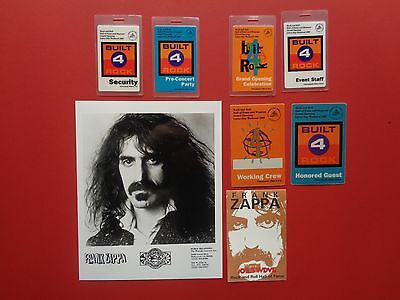 FRANK ZAPPA,promo photo,7 Original backstage passes,Hall of Fame